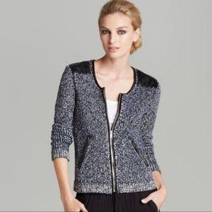 Ella moss $258 britt sweater jacket leather m